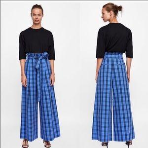 Zara Woman Blue Plaid High Waist Wide Leg Pants